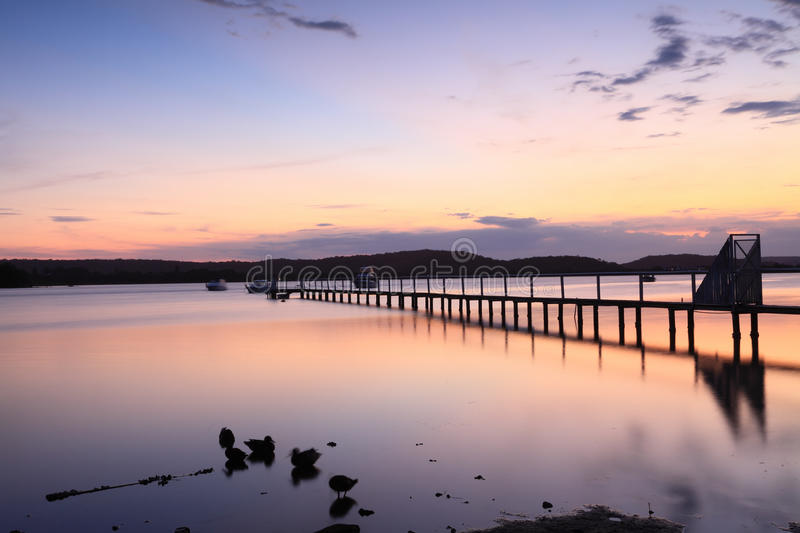 Sundown tranquility. On the Kincumber broadwater royalty free stock photography
