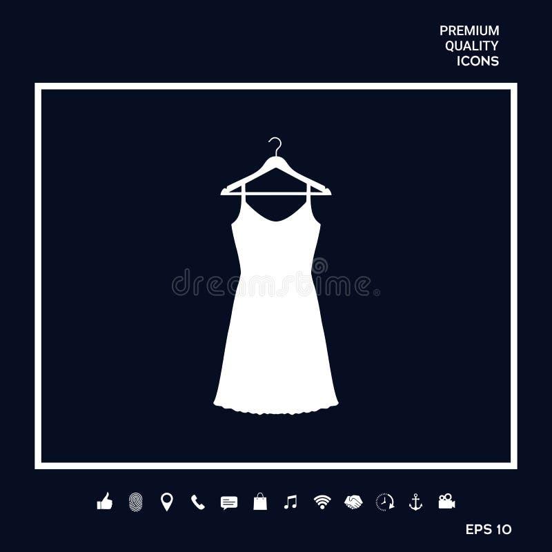 Sundress, aftonklänning, kombination eller nattlinne på garderobhängaren, konturn Menyobjekt i rengöringsdukdesignen vektor illustrationer