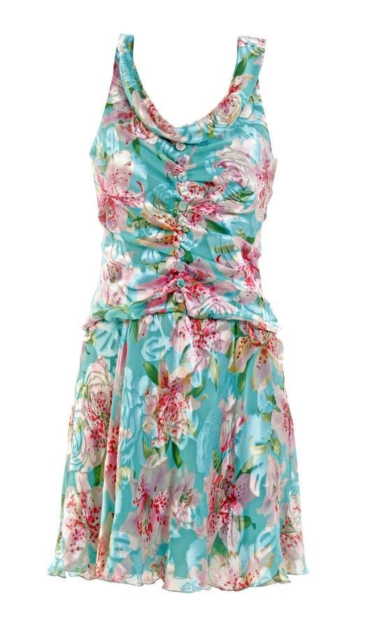 Sundress de seda azuis do vestido das flores fotos de stock royalty free