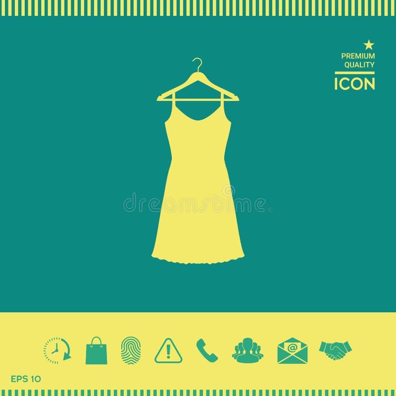 Sundress, wieczór suknia, kombinacja lub nightie na garderoba wieszaku sylwetka Menu rzecz w sieć projekcie ilustracji