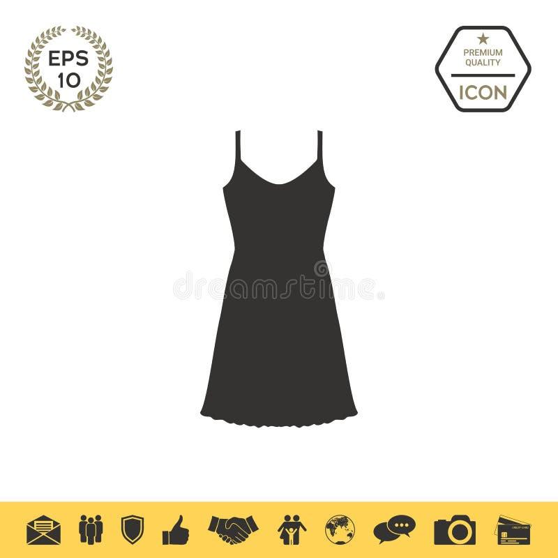 Sundress, wieczór suknia, kombinacja lub nightie sylwetka Menu rzecz w sieć projekcie ilustracja wektor
