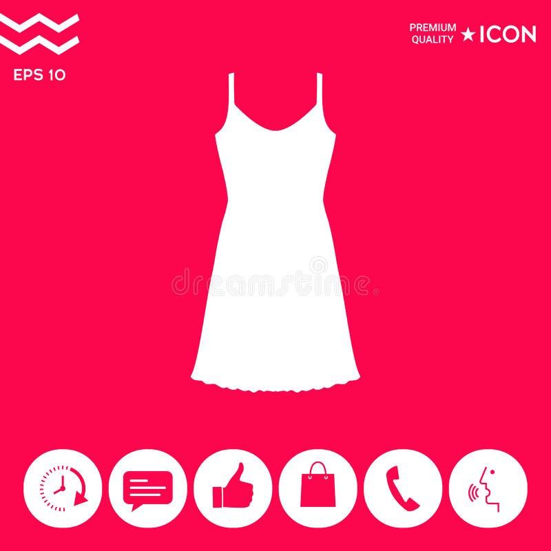 Sundress, wieczór suknia, kombinacja lub nightie sylwetka Menu rzecz w sieć projekcie royalty ilustracja