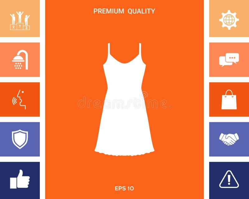 Sundress, wieczór suknia, kombinacja lub nightie sylwetka Menu rzecz w sieć projekcie ilustracji