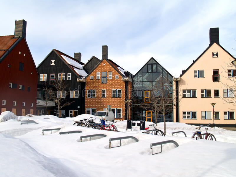 Sundsvall, northern Sweden. Street of Sundsvall, northern Sweden royalty free stock image