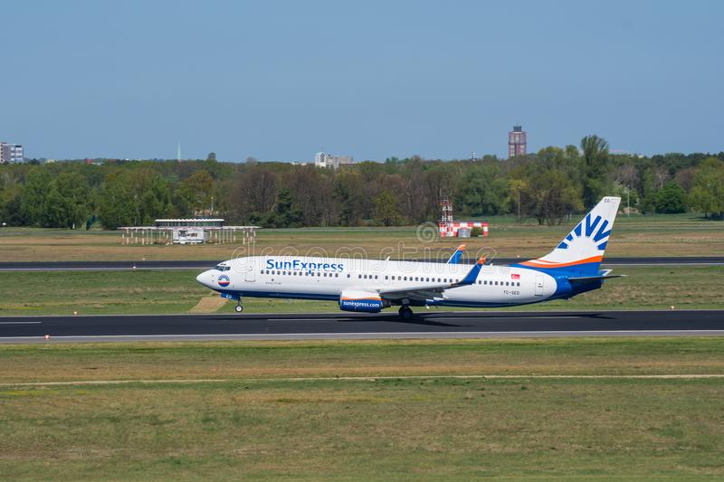 Sunexpress Boeing 737-800 take off from Berlin Tegel airport royalty free stock photography