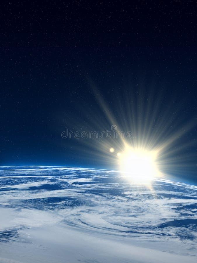 sunflare de la terre illustration stock