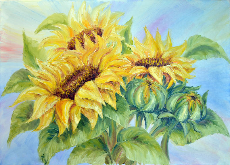 Sunflower. S, oil painting on canvas