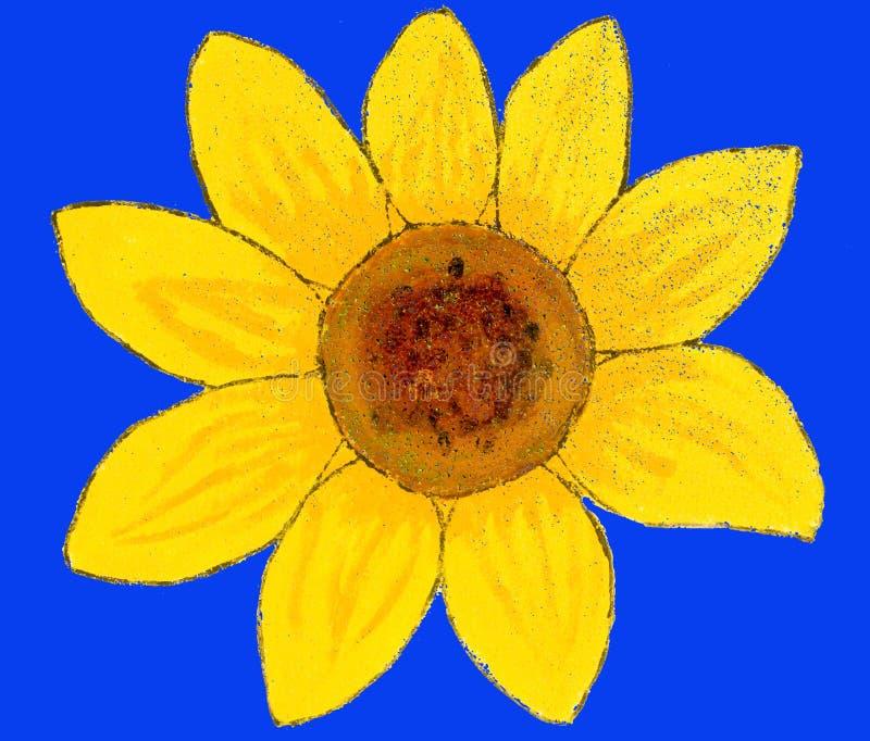 Sunflower on blue, painting stock illustration