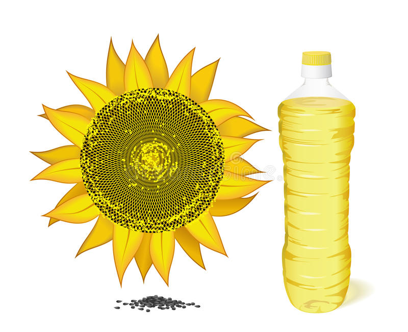 Sunflower, A Bottle Of Sunflower Oil And Seeds. Stock Photo