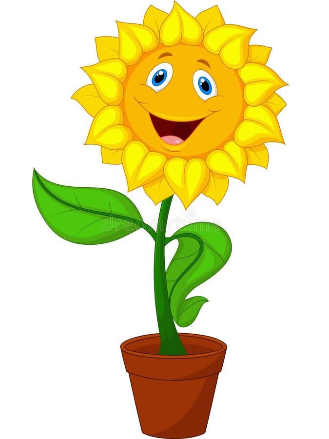 Sunflower Cartoon Presenting Stock Vector - Illustration ...