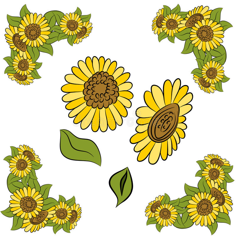 Download Sunflower Design Element Set Stock Vector - Image: 19950810