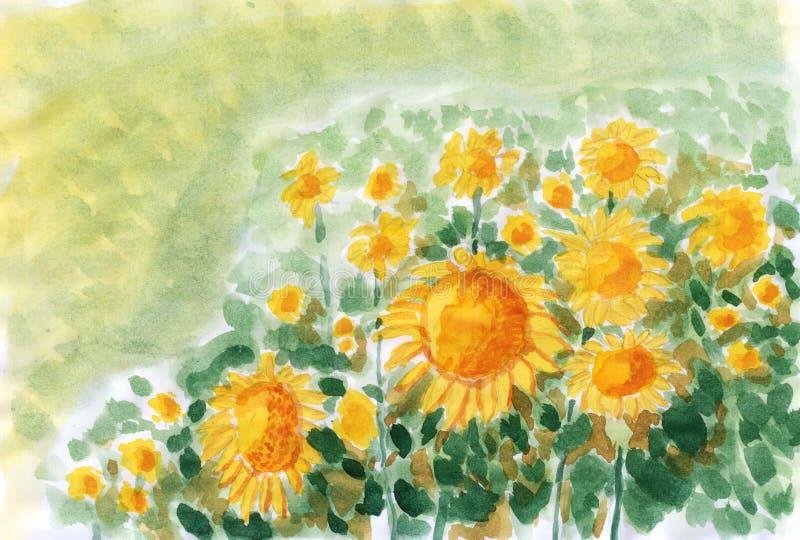 Download Sunflower field stock illustration. Illustration of pattern - 28889069