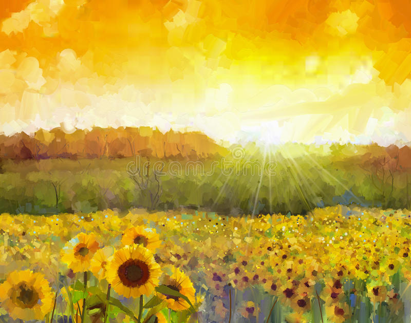 Sunflower flower blossom.Oil painting of a rural sunset landscape with a golden sunflower field. Warm light of the sunset and vector illustration