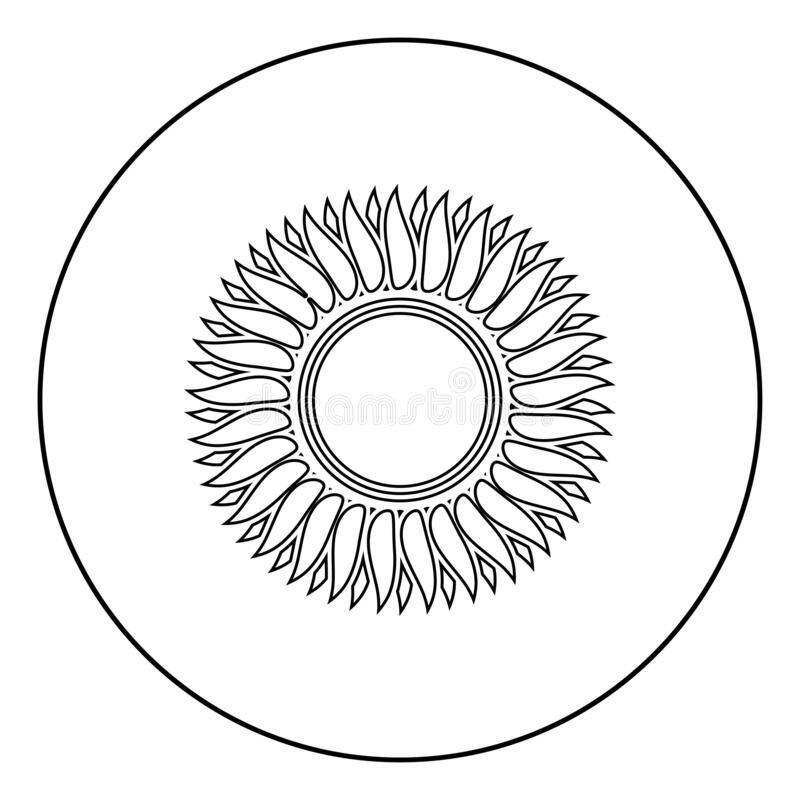 Sunflower flower Sun icon in circle round outline black color vector illustration flat style image. Sunflower flower Sun icon in circle round outline black color vector illustration