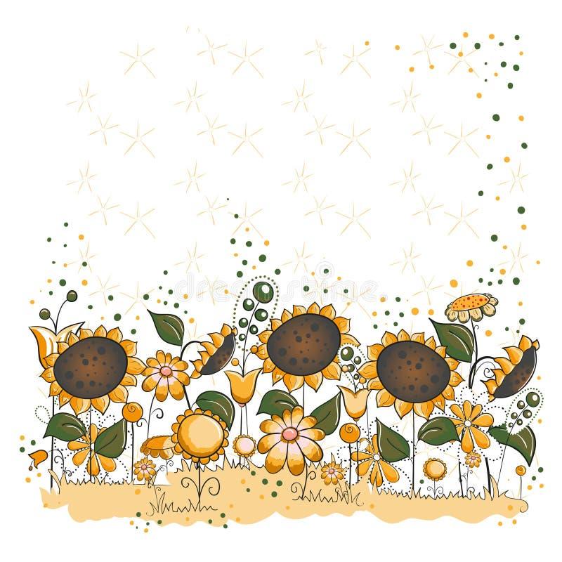 Download Sunflower Garden - Halloween Or Thanksgiving Card Stock Illustration - Illustration: 16083456