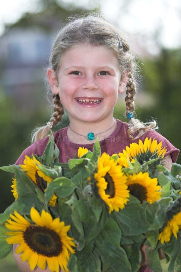 Sunflower girl stock images