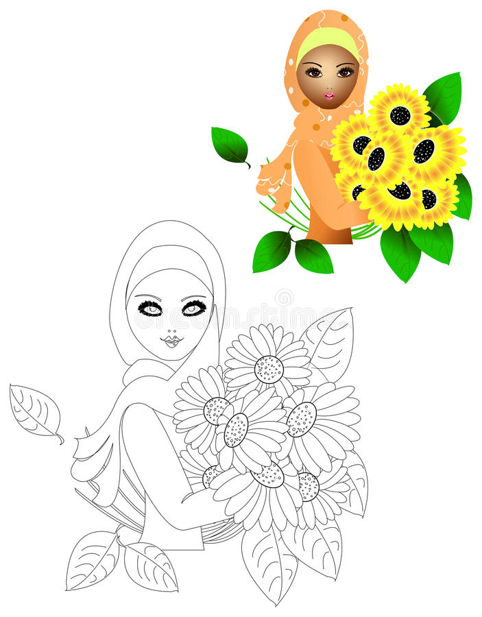 Download Sunflower girl stock illustration. Image of brunet, color - 20330734