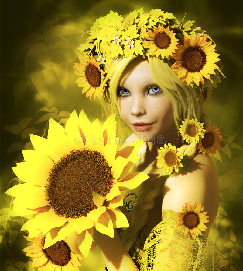 Download Sunflower Girl stock illustration. Image of flowers, summer - 26485702