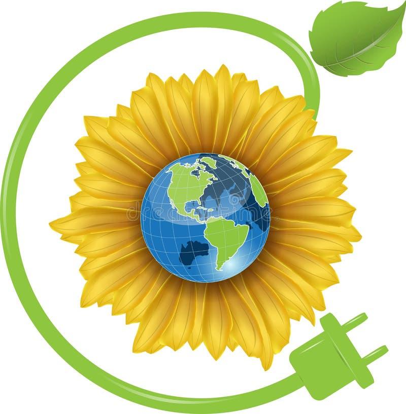Sunflower and Globe vector illustration