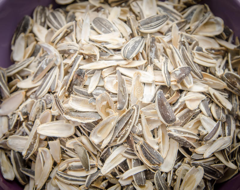 Sunflower husk. Sunflower seeds husk in a pile in a bowl with a close look royalty free stock photography