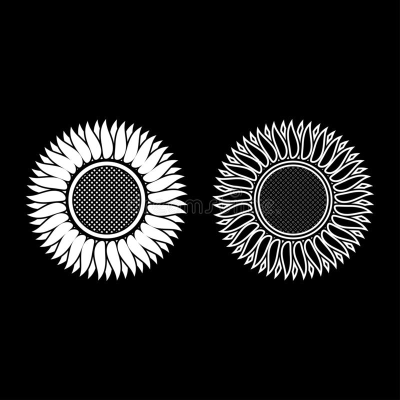 Sunflower icon outline set white color vector illustration flat style image vector illustration