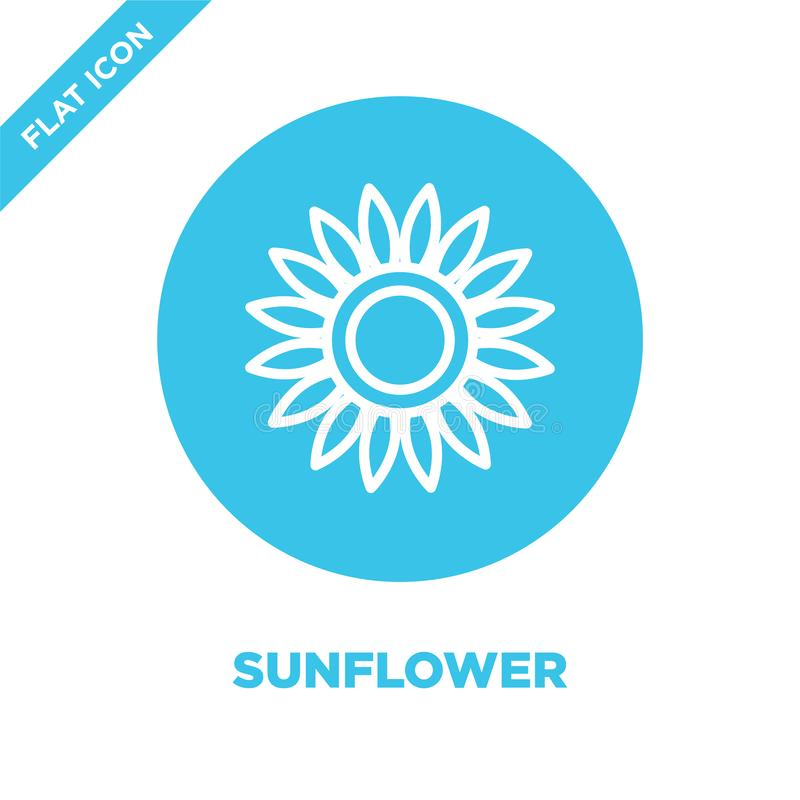 sunflower icon vector from seasons collection. Thin line sunflower outline icon vector  illustration. Linear symbol for use on web stock illustration