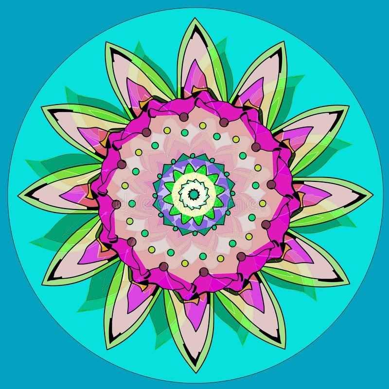 SUNFLOWER MANDALA. PLAIN LIGHT BLUE BACKGROUND. CENTRAL CIRCLE IN TURQUOISE. FLOWER IN GREEN, BLACK, PURPLE, PINK, BEIGE. SUNFLOWER MANDALA. PLAIN LIGHT BLUE vector illustration
