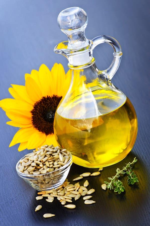 Sunflower oil bottle stock photos