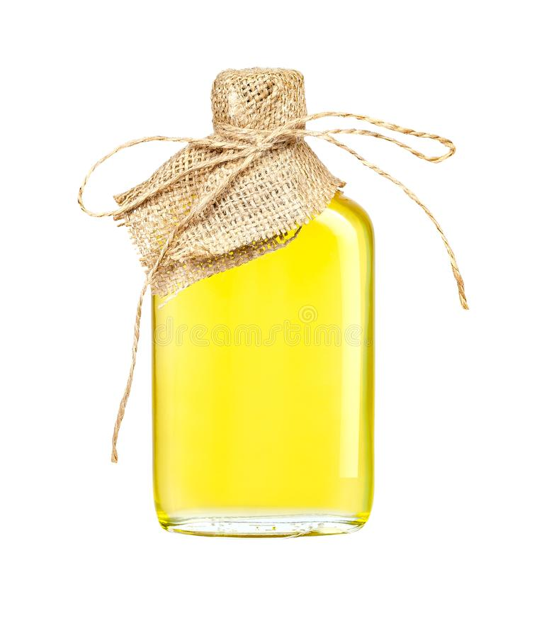 Sunflower oil in a crafted glass bottle isolated on a white background with clipping path royalty free stock photo