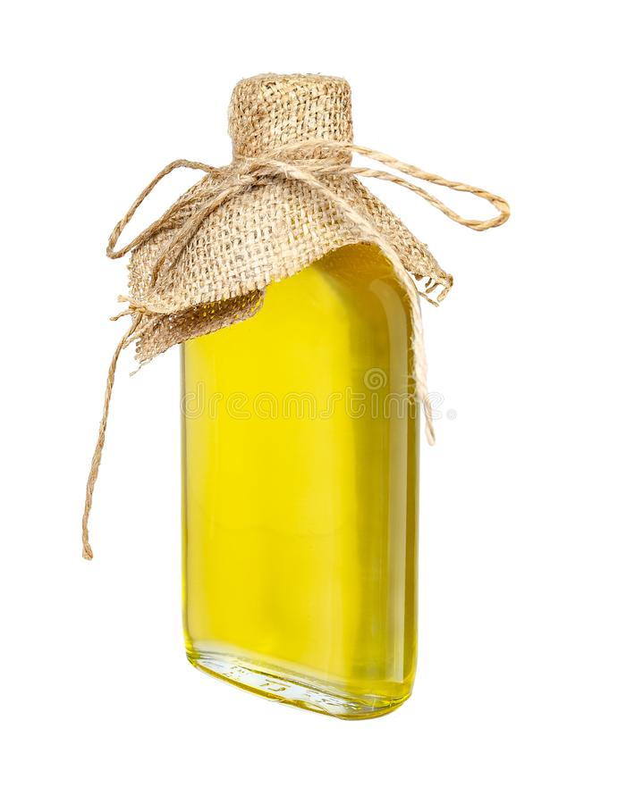Sunflower oil in a crafted glass bottle isolated on a white background royalty free stock images