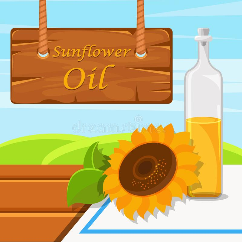 Sunflower oil, glass bottle of food oil on the rustic background vector Illustration design element for banner, poster stock illustration