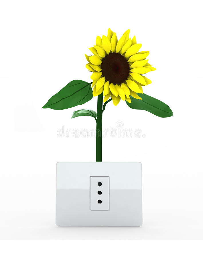 Sunflower over energy plug stock illustration