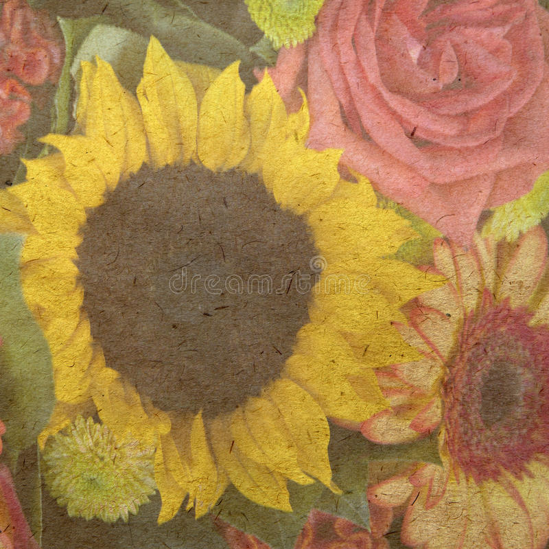 Sunflower and rose. Vintage wallpaper background with flower stock illustration