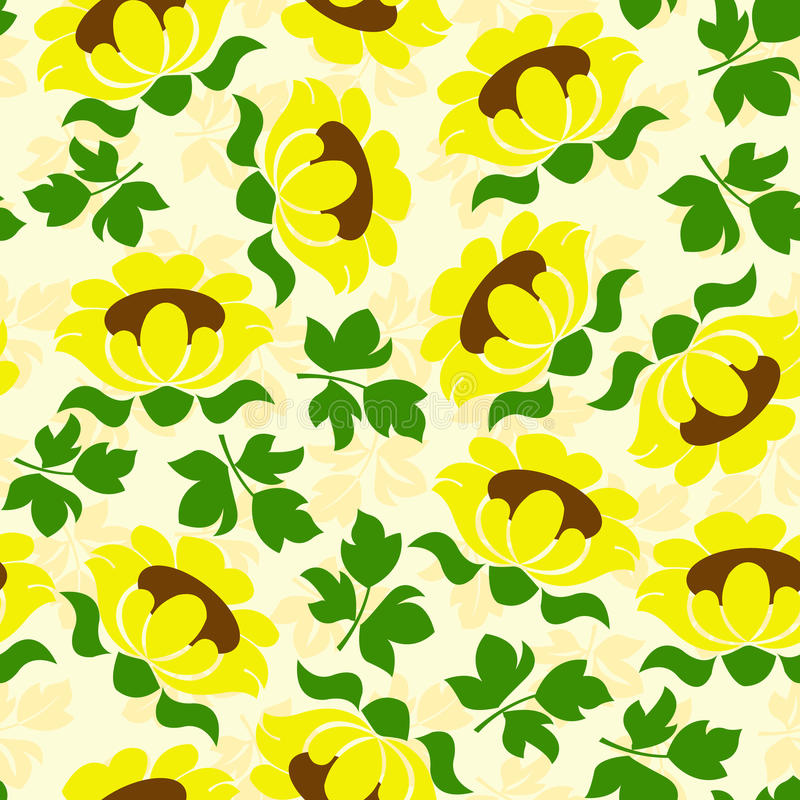 sunflower seamless pattern stock illustration