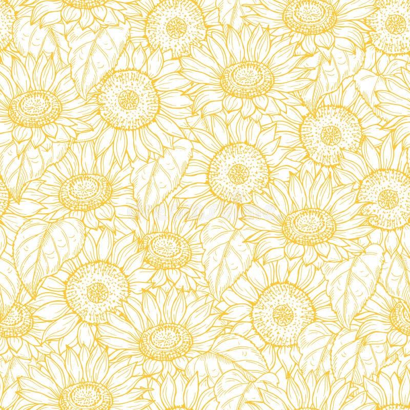 Sunflower seamless pattern. Vector line yellow flowers texture background vector illustration