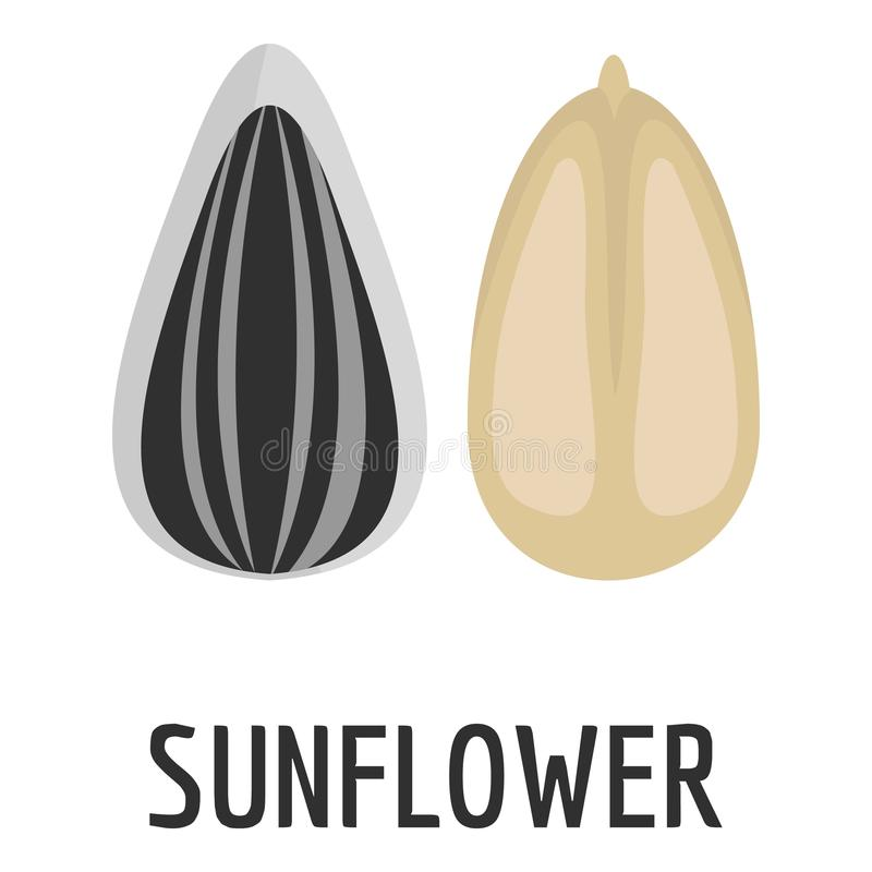 Sunflower seed icon, flat style vector illustration