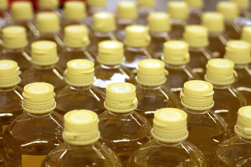 Sunflower seed oil pattern factory warehouse store royalty free stock images