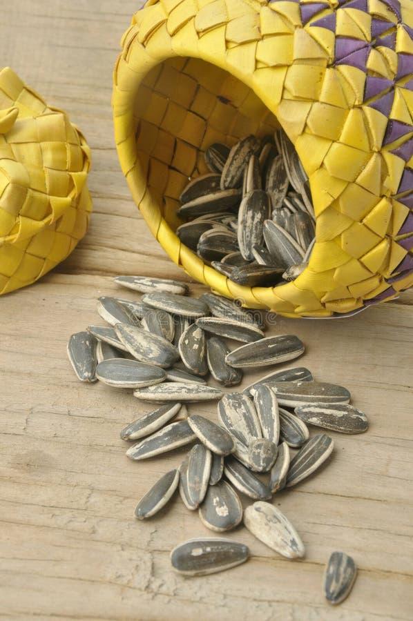 Sunflower Seed On Wood Background Stock Image