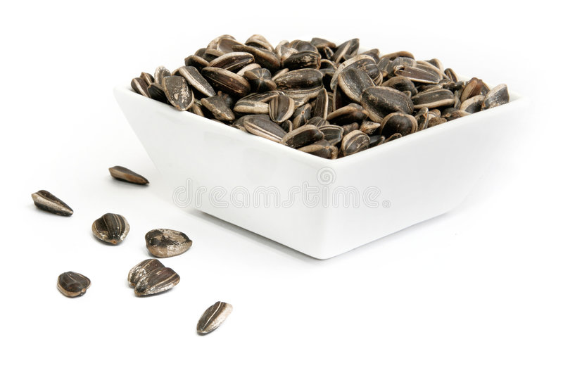 Sunflower seeds. In a bowl isolated on white background stock photography