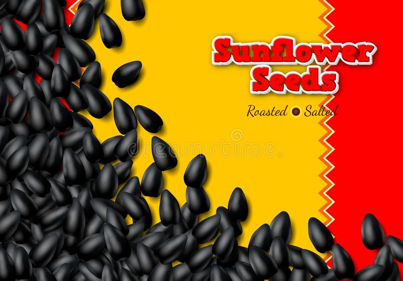 Sunflower seeds background with heap of black grains. Sunflower seeds background with heap of scattered black grains royalty free illustration