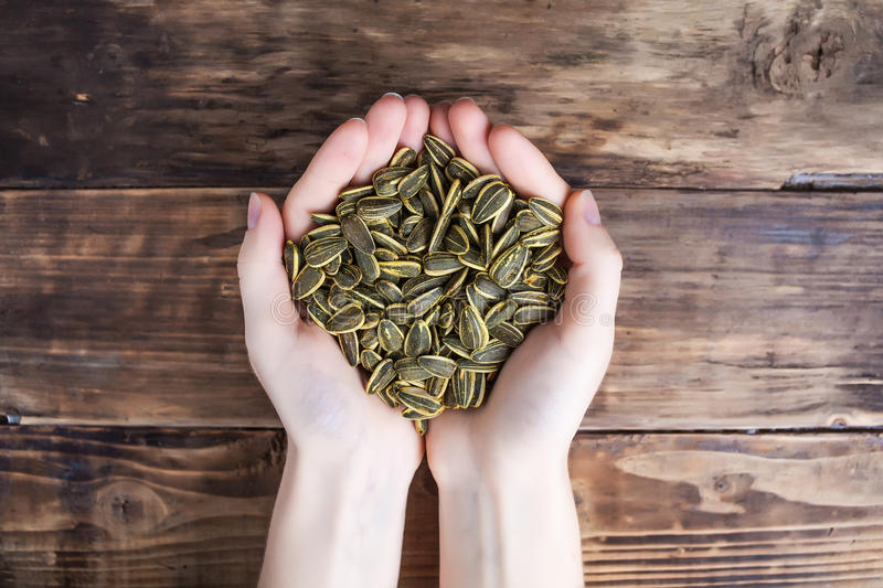 Sunflower seeds in hands stock image