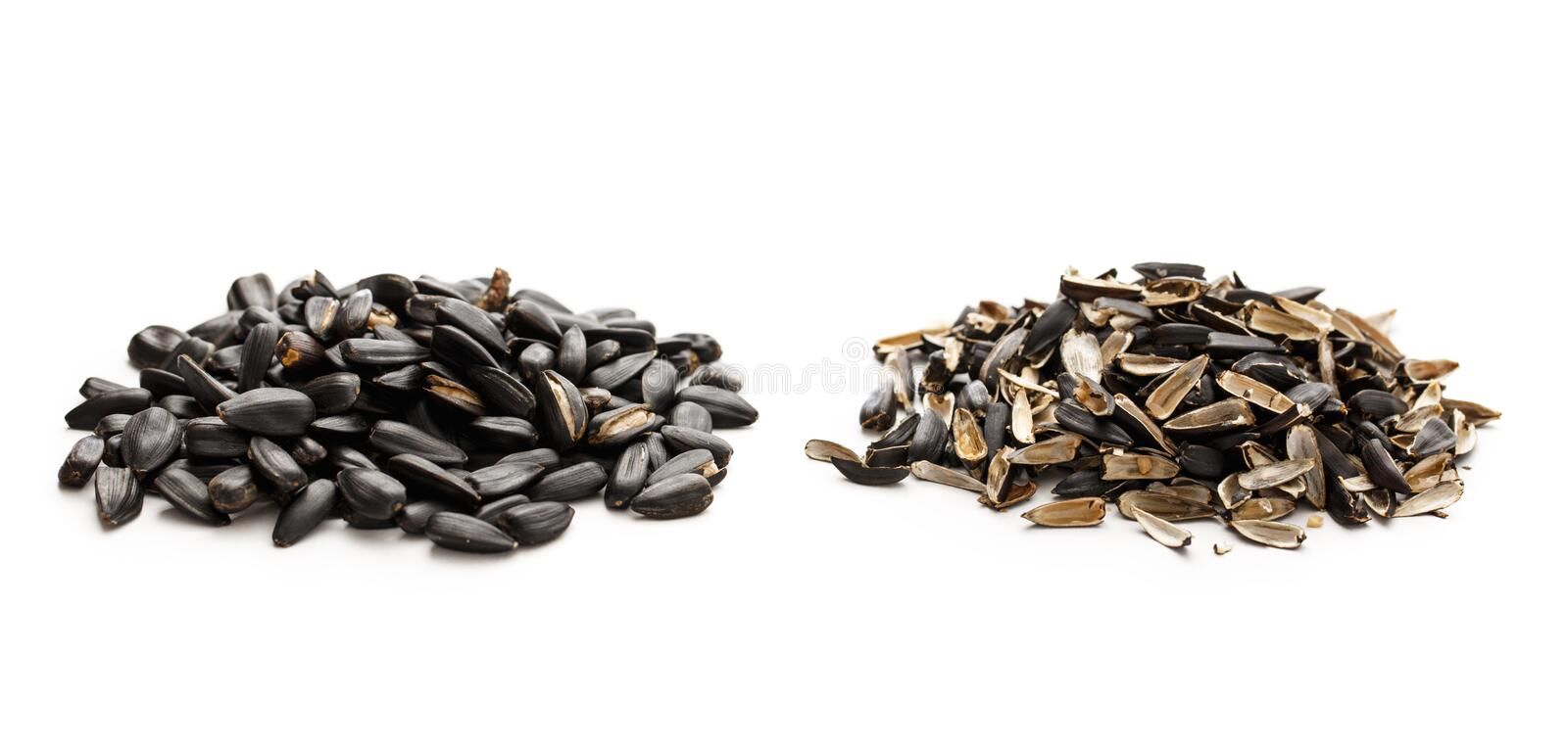 Sunflower seeds and husk. S on white background stock photos