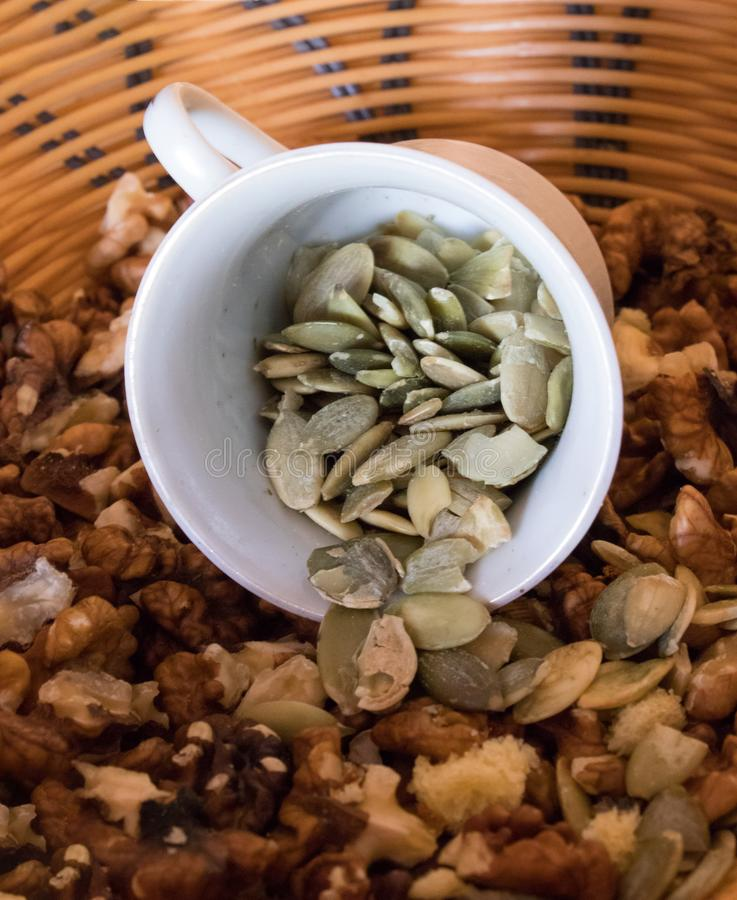 Sunflower seeds and nuts stock image