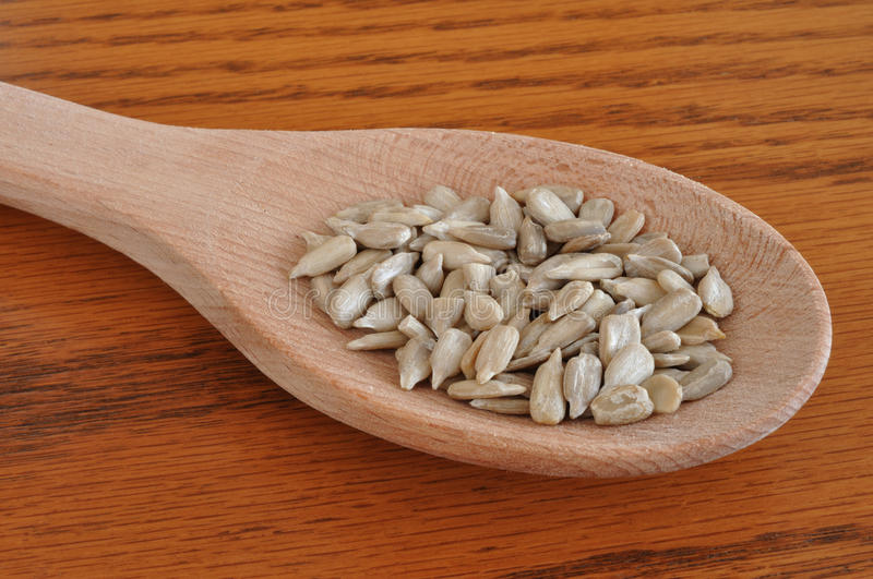 Download Sunflower Seeds On Wooden Spoon Stock Images - Image: 12766784