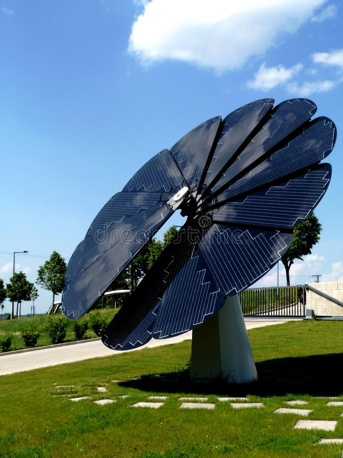 Sunflower shaped self controlled solar panel stock photography
