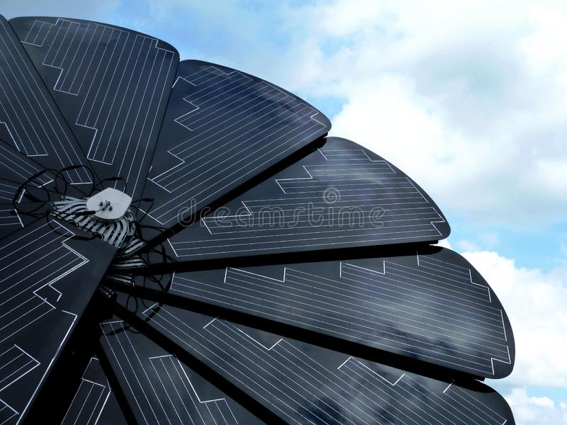 Sunflower shaped self controlled solar panel stock photos