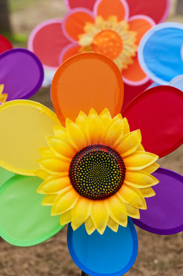 Sunflower toy. Colour sunflower toy on the floor royalty free stock photo