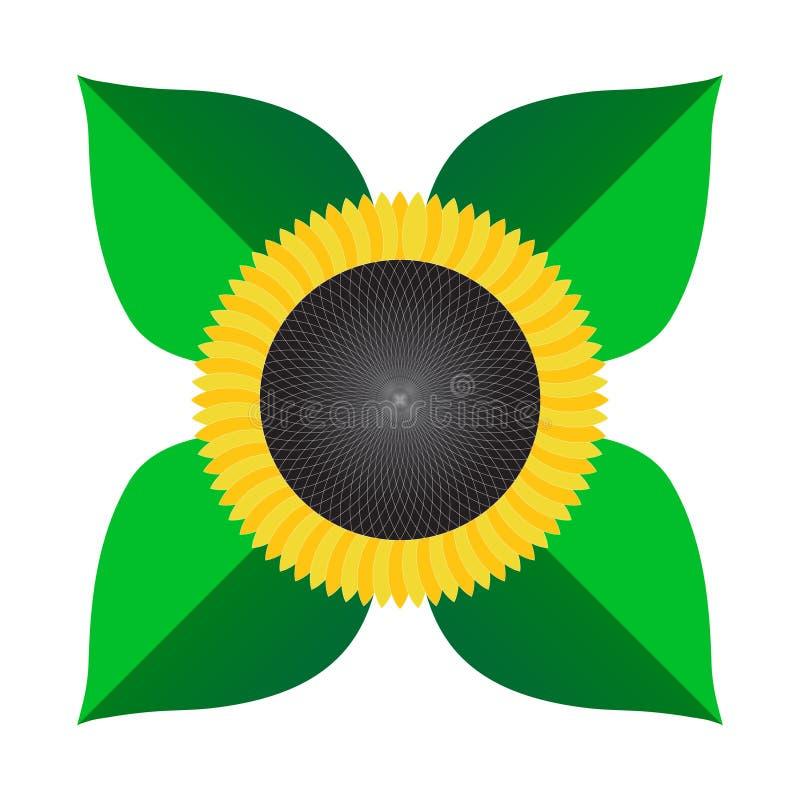 Sunflower vector icon isolated stylish flat color stock illustration