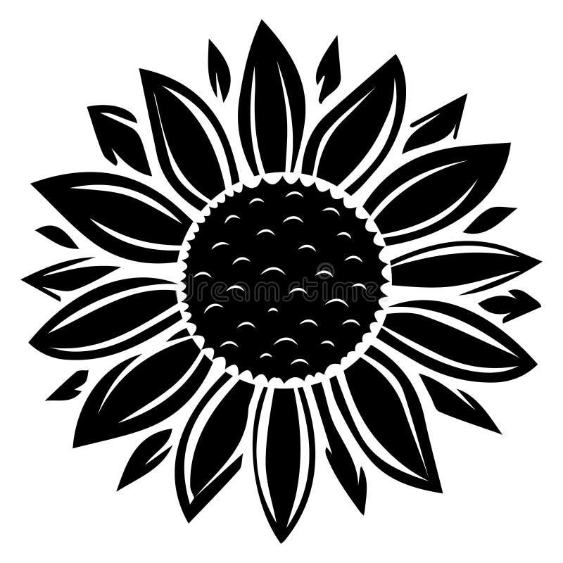 Download Black And White Sunflower Illustration Stock Vector ...
