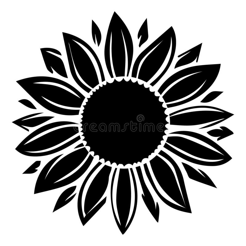 Sunflower Vector Illustration In Black Color Stock ...